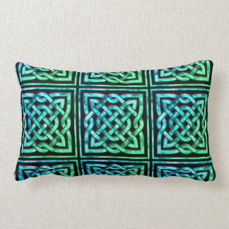 Celtic Knot - Square Blue Green Throw Pillow
