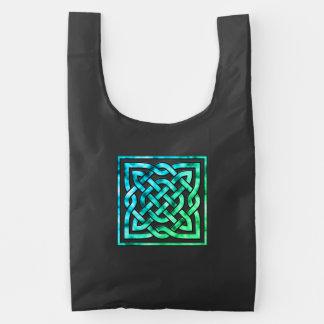 Celtic Knot - Square Blue Green Reusable Bag