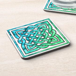 Celtic Knot - Square Blue Green White Beverage Coaster