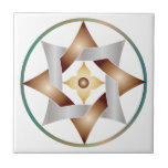 Celtic Knot Star in a Circle - Bronze & Green Tiles