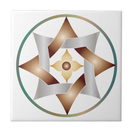 Celtic Knot Star in a Circle - Bronze & Green Small Square Tile