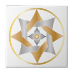Celtic Knot Star in a Circle - Gold & Silver Ceramic Tiles