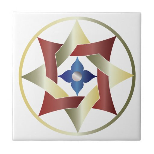 Celtic Knot Star in a Circle - Red, Green, & Blue Small Square Tile