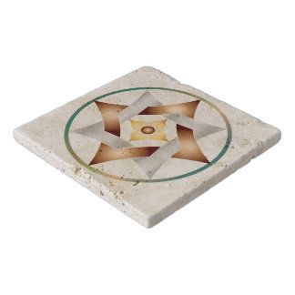 Celtic Knot Star in a Circle - Stone Trivet 2