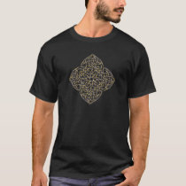 celtic knot tee shirt in blue and gold