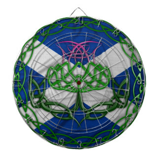 Celtic Knot Thistle And Flag Dartboard