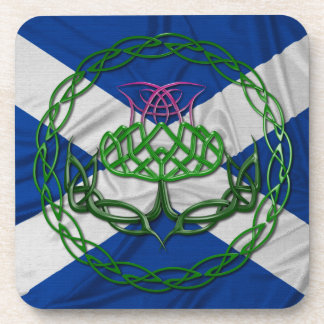 Celtic Knot Thistle And Flag Drink Coaster