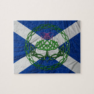 Celtic Knot Thistle And Flag Jigsaw Puzzle