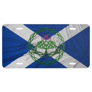 Celtic Knot Thistle And Flag License Plate