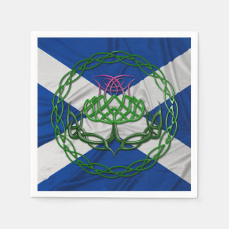 Celtic Knot Thistle And Flag Paper Napkin