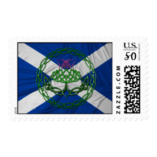 Celtic Knot Thistle And Flag Postage