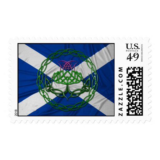Celtic Knot Thistle And Flag Postage Stamp
