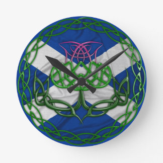 Celtic Knot Thistle And Flag Round Clock