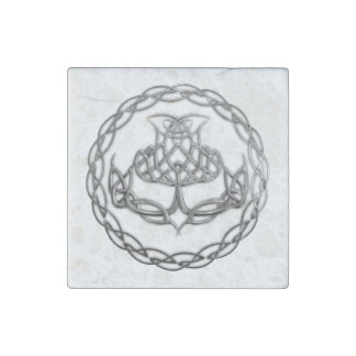 Celtic Knot Thistle Stone Magnet