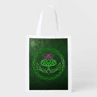 Celtic Knot Thistle Reusable Grocery Bag
