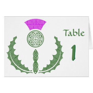 Celtic Knot Thistle Wedding Table Number Card