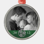 Celtic Knot Triskelion Green Christmas Photo Ornam Metal Ornament
