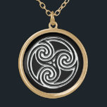 "Celtic Knot Triskelion Irish Black Back Necklace<br><div class=""desc"">White Celtic Knot Triskelion Irish Black Background Necklace. A beautiful Celtic or Irish themed necklace featuring a black background and celtic knot triskelion in the center. A great piece of irish jewelry for any woman or man. Makes a great bridesmaid gift for your Irish Gaelic Wedding or just as a...</div>"