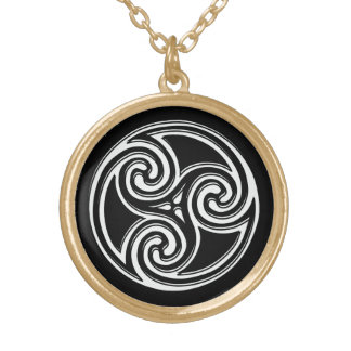 Celtic Knot Triskelion Irish Black Back Necklace