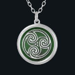 "Celtic Knot Triskelion Irish Green Necklace<br><div class=""desc"">Celtic Knot Triskelion Irish Green Necklace. A beautiful Celtic or Irish themed necklace featuring a green background and celtic knot triskelion in the center. A great piece of irish jewelry for any woman or man. Makes a great bridesmaid gift for your Irish Gaelic Wedding or just as a gift in...</div>"