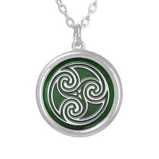 Celtic Knot Triskelion Irish Green Necklace