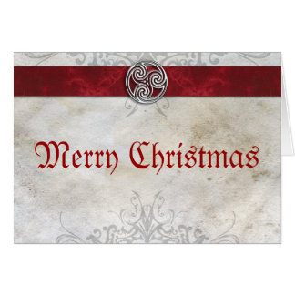 Celtic Knot Triskelion Red  Christmas Card