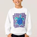 Celtic Knot Turtle (Blue) Kids' Sweatshirts