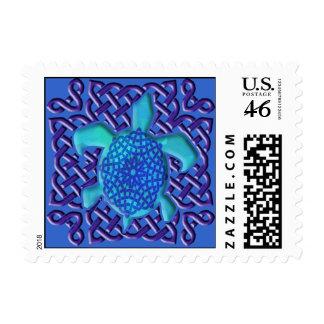 Celtic Knot Turtle (Blue) Stamps