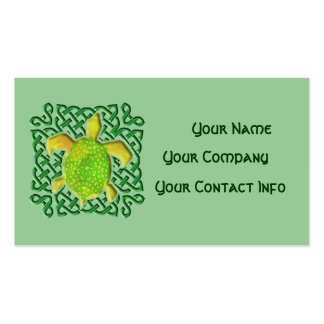Celtic Knot Turtle (Green) Business Card Template