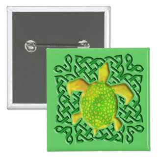 Celtic Knot Turtle (Green) Buttons