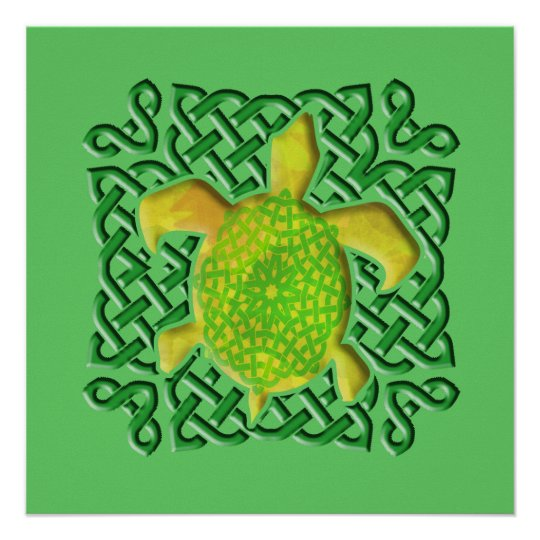 Celtic Knot Turtle (Green) Posters