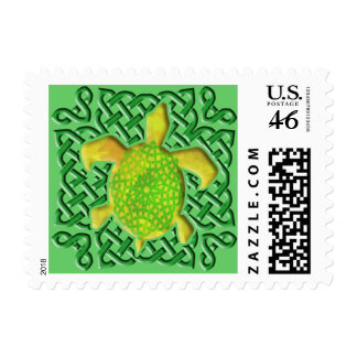 Celtic Knot Turtle (Green) Stamps
