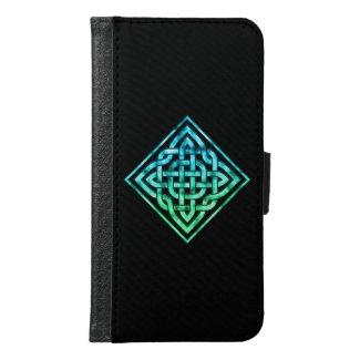 Celtic Knot Wallet Case: Diamond Blue Green Design