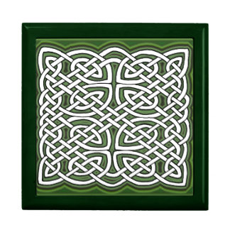 Celtic knot with green background jewelry box