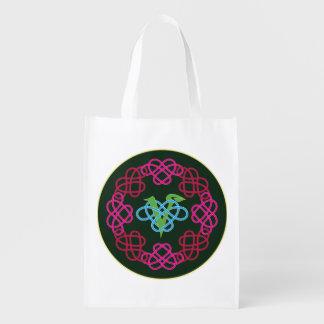 Celtic Knot Work Vegan Polyamory Heart Circle Grocery Bag