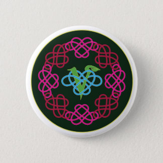 Celtic Knot Work Vegan Polyamory Heart Circle Pinback Button