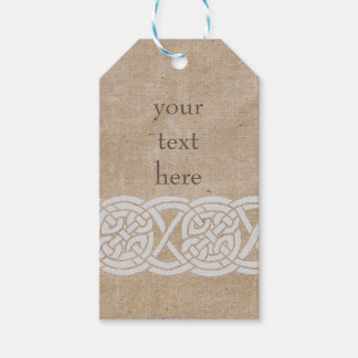 Celtic knots on vintage burlap pack of gift tags