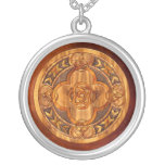 Celtic Knots Simulated Wood Mandala Silver Plated Necklace