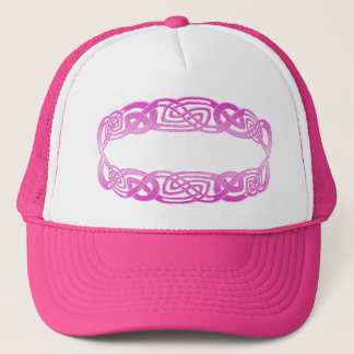 Celtic Knotwork Cap Hat in Hot Pink & White