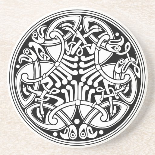 Celtic Knotwork Circle Design with Birds Drink Coasters