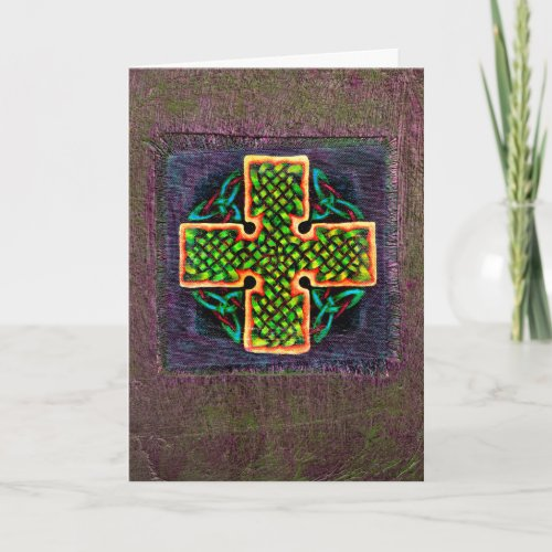 Celtic Knotwork Cross Painting (Blank Inside)