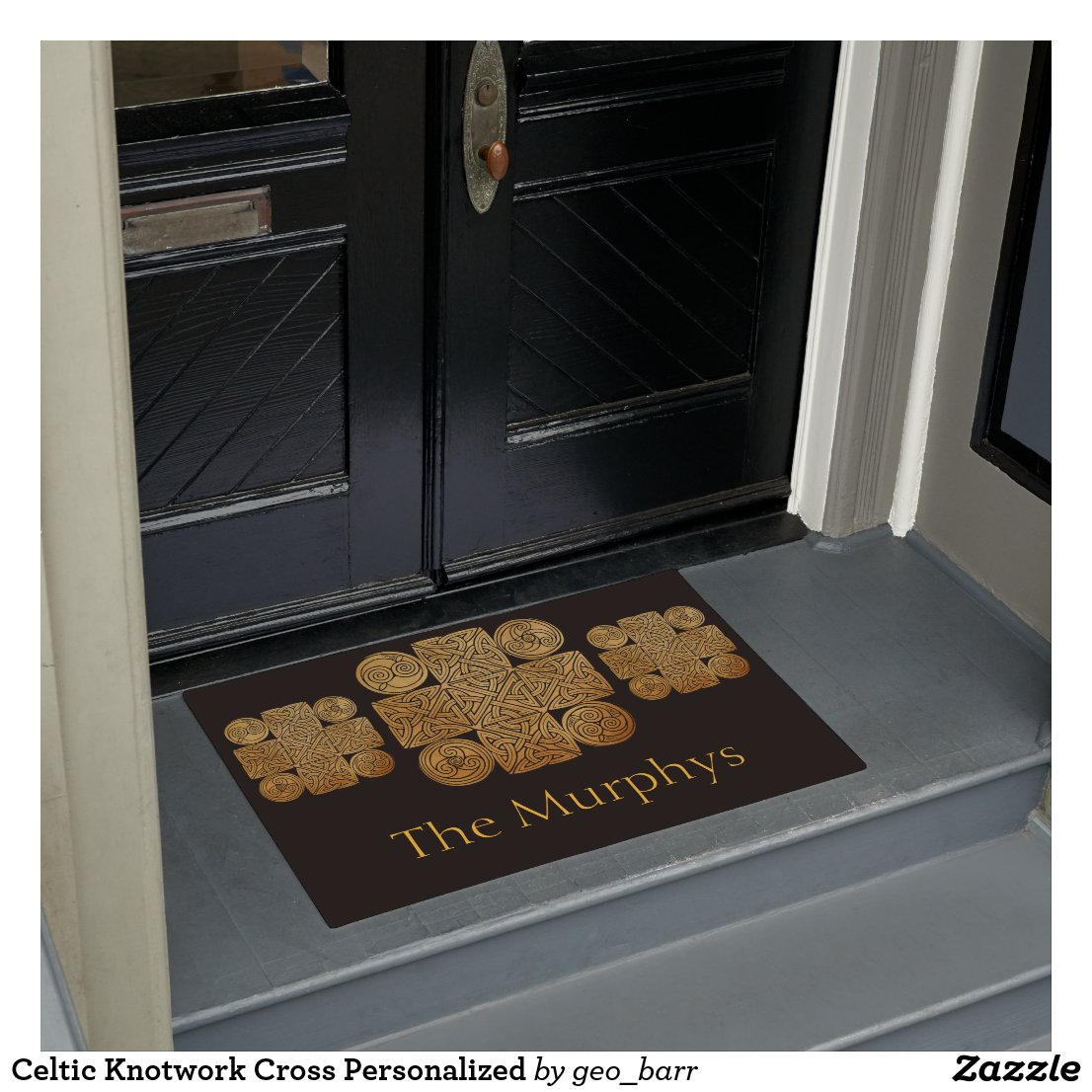 Celtic Knotwork Cross Personalized Doormat