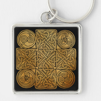Celtic Knotwork Cross Silver-Colored Square Keychain