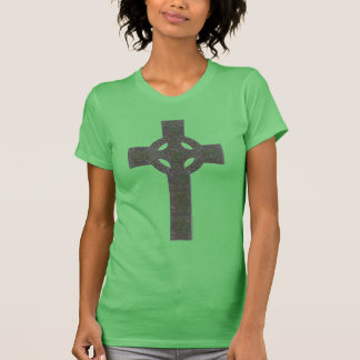 Celtic Knotwork Cross with Shamrocks T Shirts