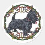 Celtic Knotwork de Terrier del escocés Etiqueta Redonda