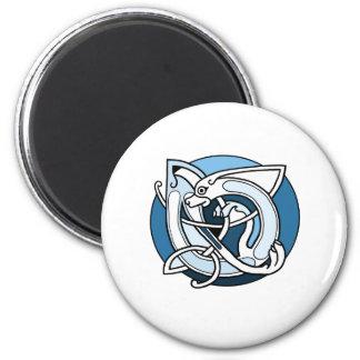 Celtic Knotwork Design - Blue Dog 2 Inch Round Magnet