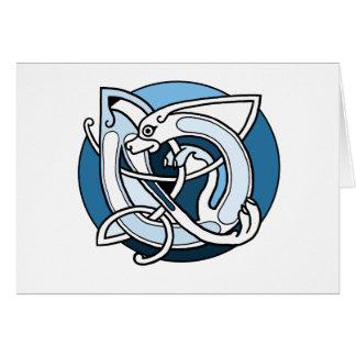 Celtic Knotwork Design - Blue Dog Card