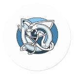 Celtic Knotwork Design - Blue Dog Classic Round Sticker