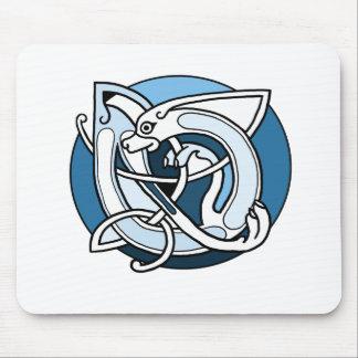 Celtic Knotwork Design - Blue Dog Mouse Pads