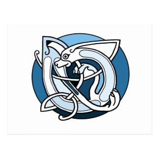 Celtic Knotwork Design - Blue Dog Postcard